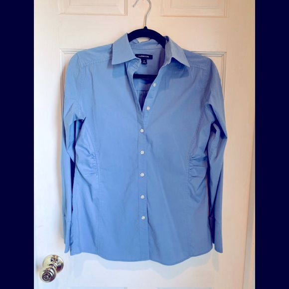 Lands End Smocked Button -Down Shirt